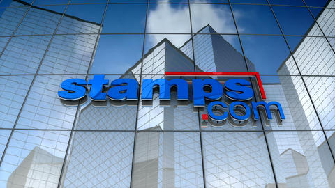 Editorial, Stamps.com logo on glass building Animation