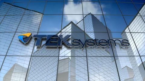 Editorial, TEKsystems logo on glass building Animation