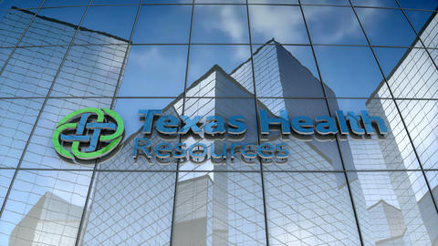 Editorial, Texas Health Resources logo on glass building Animation