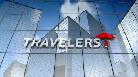 Editorial, The Travelers Companies, Inc. logo on glass building Animation