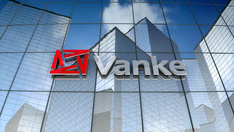 Editorial, China Vanke Co., Ltd. logo on glass building Animation
