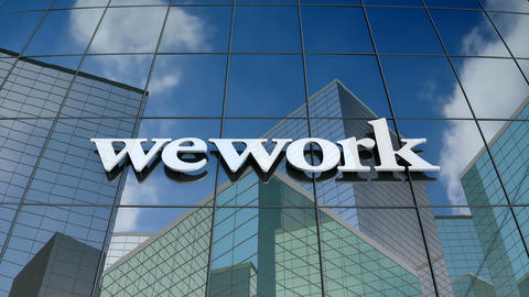 Editorial, WeWork logo on glass building Animation