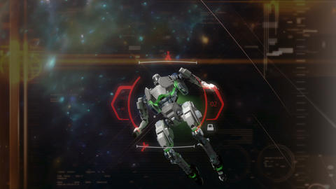 Crosshair target locked on a space battle robot Animation