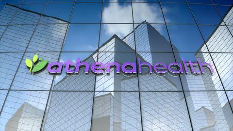 Editorial, Athena Health logo on glass building Animation