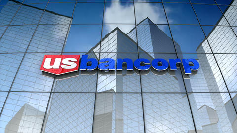 Editorial, U.S. Bancorp logo on glass building Animation
