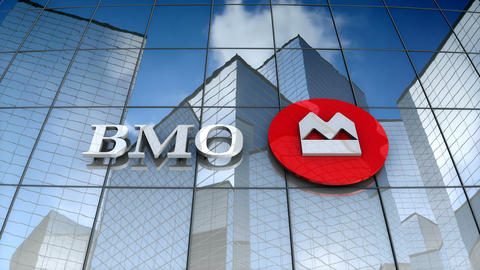 Editorial, Bank of Montreal logo on glass building Animation