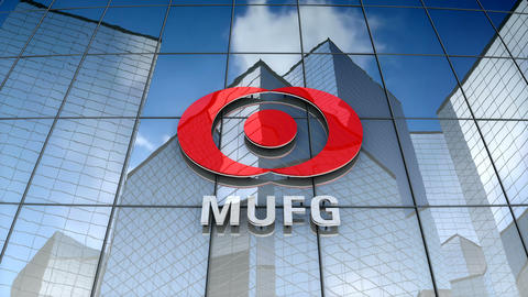 Editorial, Mitsubishi UFJ Financial Group, Inc. logo on glass building Animation