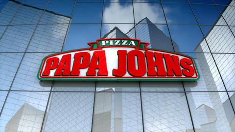 Editorial, Papa John's Pizza logo on glass building Animation