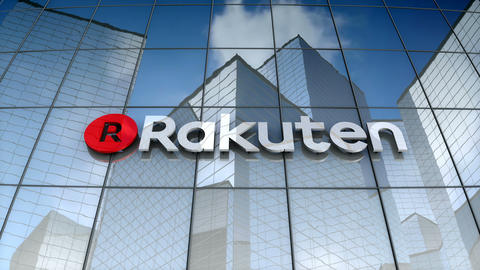 Editorial, Rakuten, Inc. logo on glass building Animation