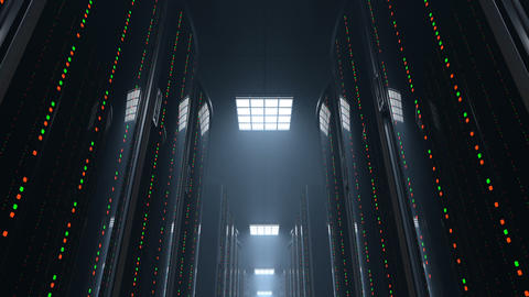 Moving through dark server room datacenter, loop Animación