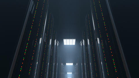 Moving through dark server room datacenter, loop Stock Video Footage