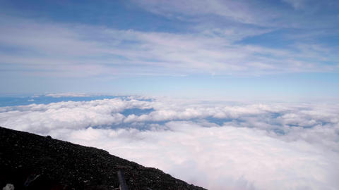 Scenery seen from the summit of Mt. Fuji. (Sea of clouds, panorama) Footage