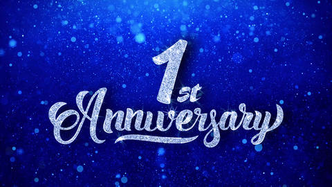 1st Anniversary Wishes Blue Glitter Sparkling Dust Blinking Particles Looped Animation