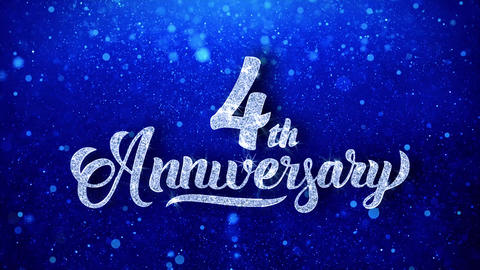 4th Anniversary Wishes Blue Glitter Sparkling Dust Blinking Particles Looped Animation