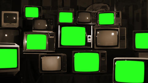 Many Tvs Green Screens. Sepia Tone. Zoom Out. Aesthetics of the 80s Footage