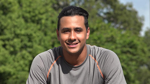 C0201 friendly talking athletic hispanic adult male Footage