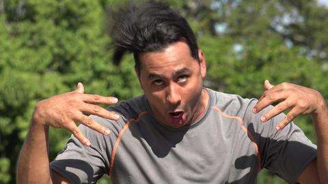 C0215 crazy athletic hispanic adult male Live Action