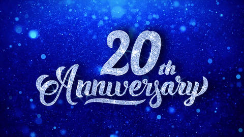20th Anniversary Wishes Blue Glitter Sparkling Dust Blinking Particles Looped Animation