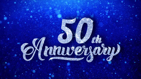 50th Anniversary Wishes Blue Glitter Sparkling Dust Blinking Particles Looped Animation