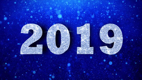 2019 Wishes Blue Glitter Sparkling Dust Blinking Particles Looped Animation