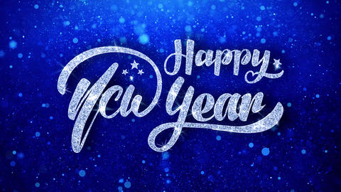 Happy New Year Wishes Blue Glitter Sparkling Dust Blinking Particles Looped Animation