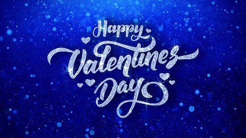 happy valentine day Wishes Blue Glitter Sparkling Dust Blinking Particles Looped Animation
