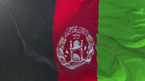 Afghanistan Flag in Slow Motion Smooth blowing in wind seamless loop Background CG動画素材