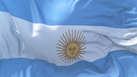 Argentina Flag in Slow Motion Smooth blowing in wind seamless loop Background Animation