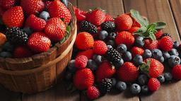 Assortment of berries strawberries blueberries blackberries raspberries Footage