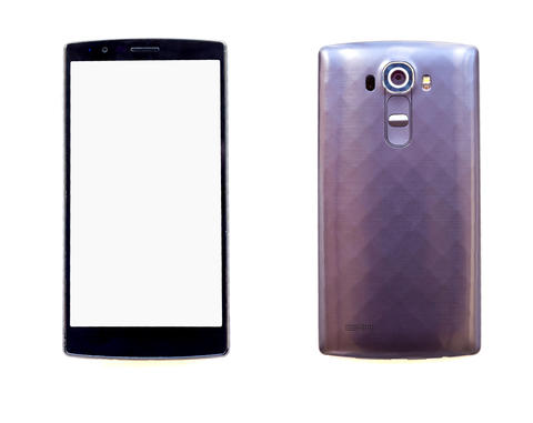 Front and back view of modern smartphone isolated on white backg Photo