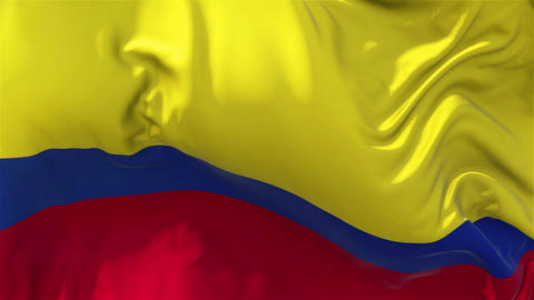 Colombia Flag in Slow Motion Smooth blowing in wind seamless loop Background Animation