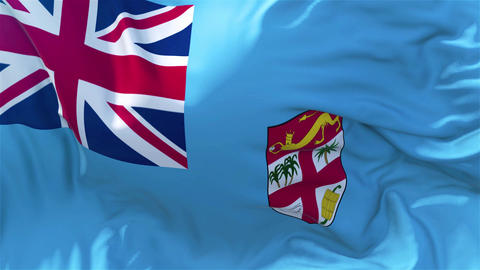 Fiji Flag in Slow Motion Smooth blowing in wind seamless loop Background Animation