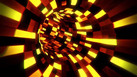 3D Gold Sci-Fi Arificial Intelligence Tunnel - VJ Loop Motion Background GIF
