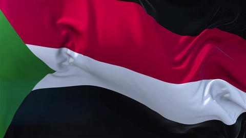 Sudan Flag in Slow Motion Smooth blowing in wind seamless loop Background Animation