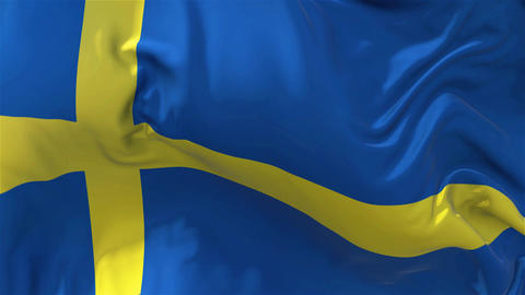 Sweden Flag in Slow Motion Smooth blowing in wind seamless loop Background Animation