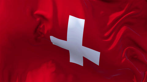 Switzerland Flag in Slow Motion Smooth blowing in wind seamless loop Background Animation