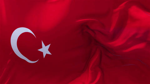 Turkey Flag in Slow Motion Smooth blowing in wind seamless loop Background Animation