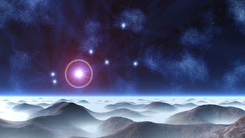 Beautiful Constellation over an Alien Planet Animation