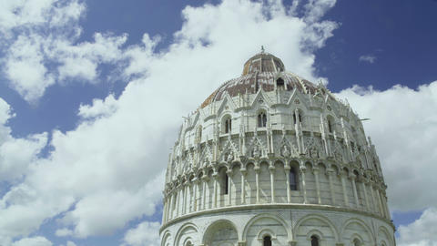Amazing view of Pisa Baptistery of St. John, ancient architecture in Italy Footage