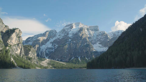 Beautiful panoramic view of lake Prags and Dolomites, amazing landscape, Italy Footage