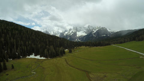 Aerial view of beautiful Dolomites mountains, amazing landscape, Alps, Italy Footage