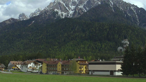 Cottage town at foot of Southern Limestone Alps, mountain recreation in Italy Footage