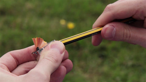 Sharpening a Pencil with a Sharpener in the Park. Close-Up Footage