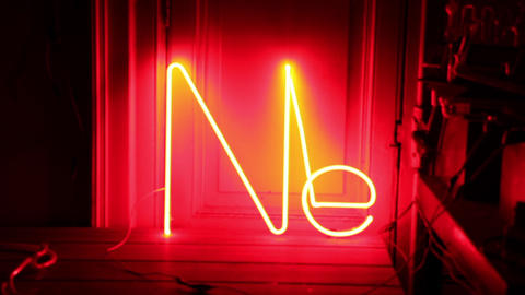 Ne Symbol. Neon Red Light. Zoom In Footage