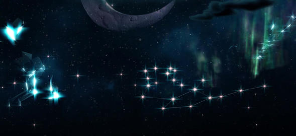 Night sky stars moon shooting stars Live Action