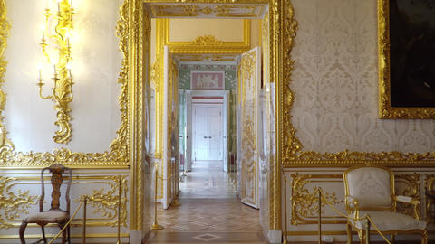 St. Petersburg, Tsarskoe Selo, Russia, June 2018: Interior of Catherine Palace Footage