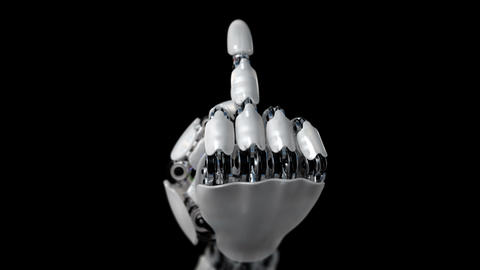 Robot Hand Shows Middle Finger Fuck You CG動画素材