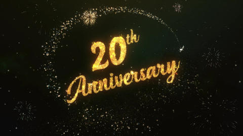 20th Anniversary Greeting Text Made from Sparklers Light Colorfull Firework Animation