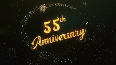 55th Anniversary Greeting Text Made from Sparklers Light Colorfull Firework Animation