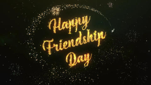 Happy friendship Day Greeting Text Made from Sparklers Light Colorfull Firework Animation